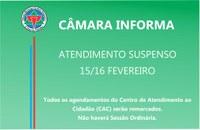 Os serviços da Câmara Municipal não funcionarão no Carnaval.